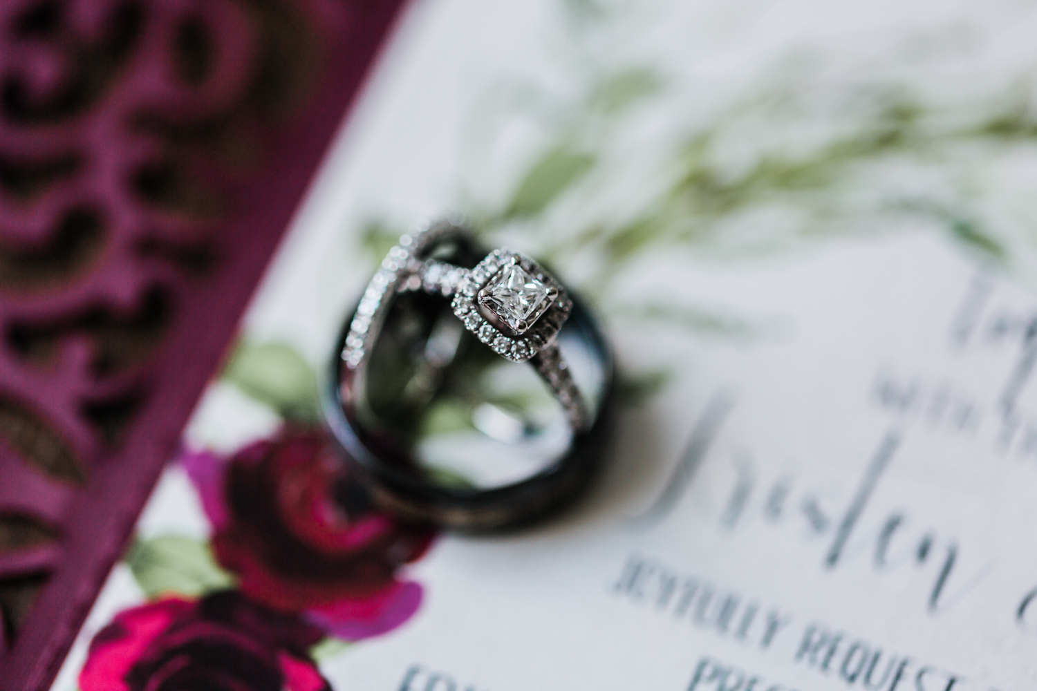 Wedding rings details - Maryland wedding in white hall