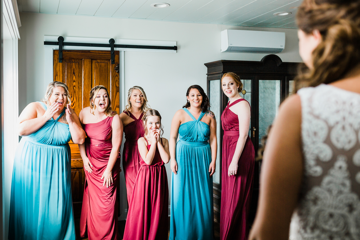 Bride reveals wedding dress to her bridal party - top husband and wife team photo video