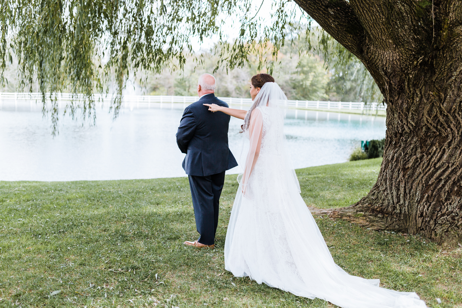 first look between bride and her father - Maryland rustic wedding venues with water