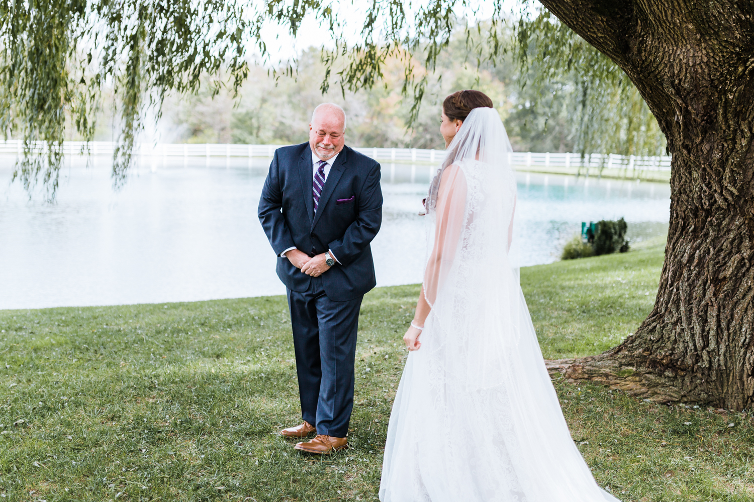 Father of the bride cries when he sees his daughter for the first time - most recommended Maryland wedding photo and video