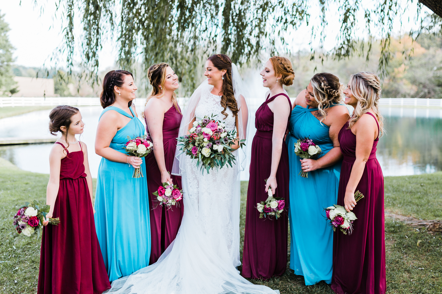 Bride laughing with her bridesmaids - Best Maryland wedding photography