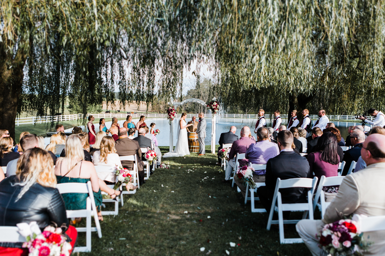 Wide view of ceremony at Pond View Farm in White Hall, MD - maryland wedding photo and video team