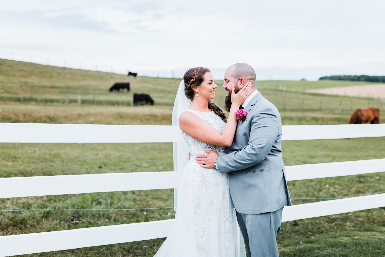 Rustic wedding venues in Maryland - bride and groom portrait - romantic