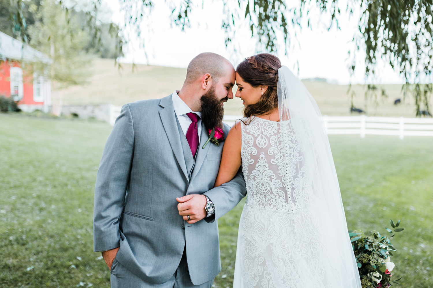 bride and groom share a romantic moment together