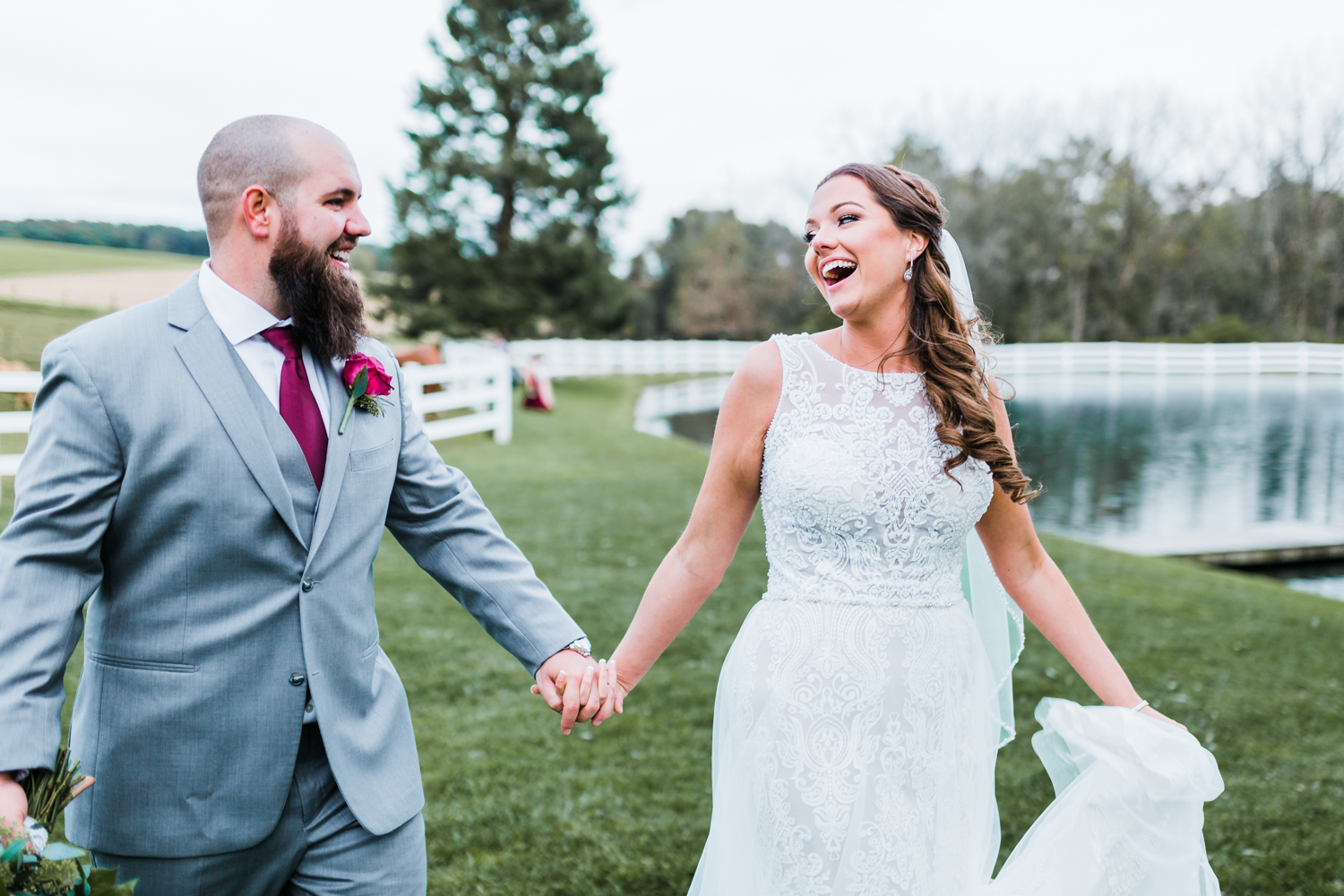 Bride laughing with her groom - MD private and secluded wedding venues