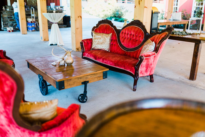 vintage furniture rentals in Maryland - K Price Events - Pond View Farm