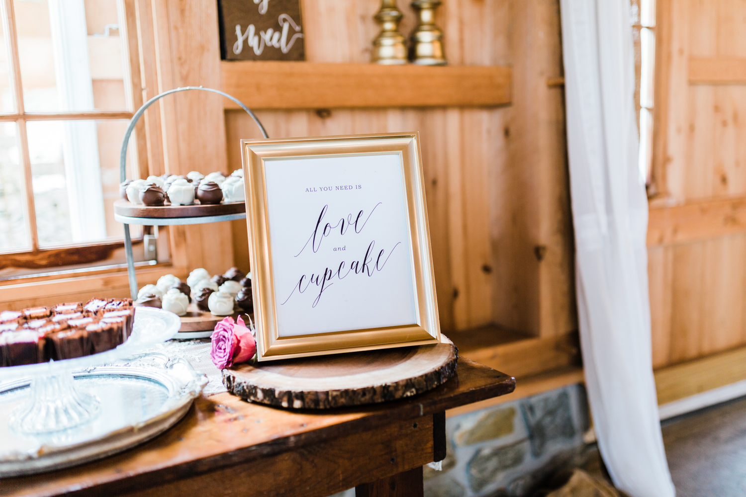 all you need is love and a cupcake sign - Maryland wedding inspiration