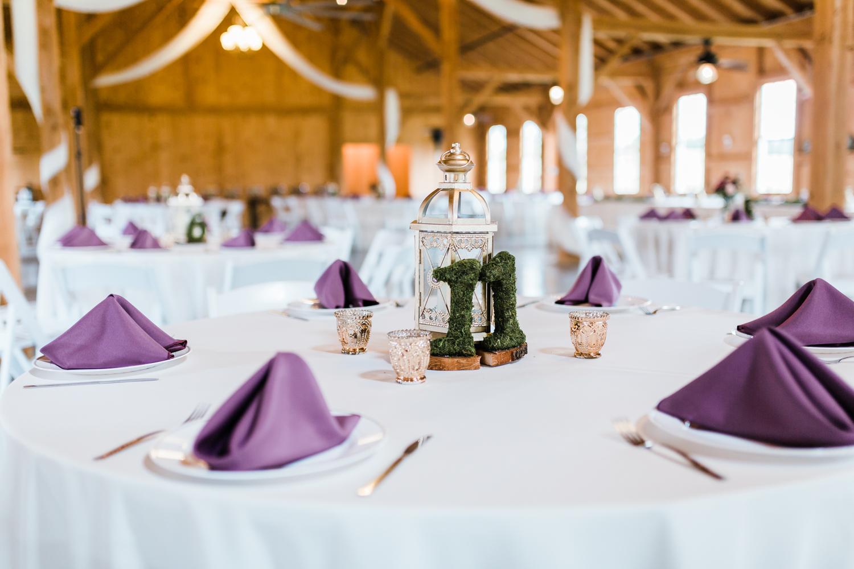 beautiful purple white and green barn wedding reception - top wedding photographer in Maryland