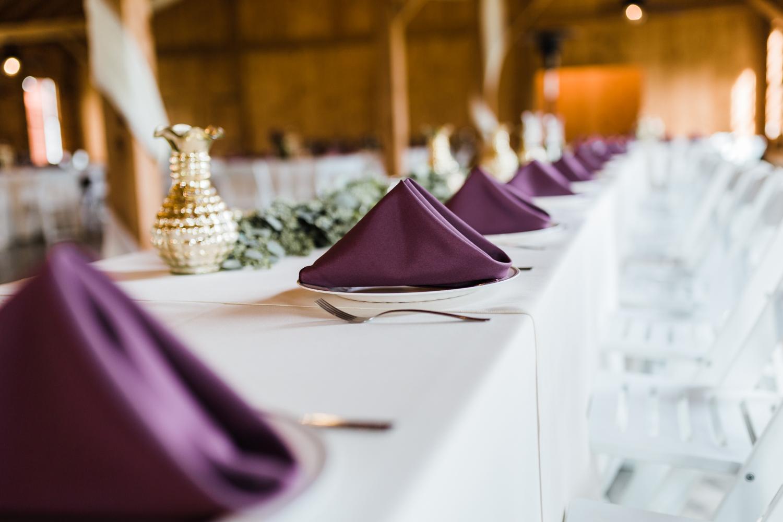 wedding reception head table - purple wedding ideas