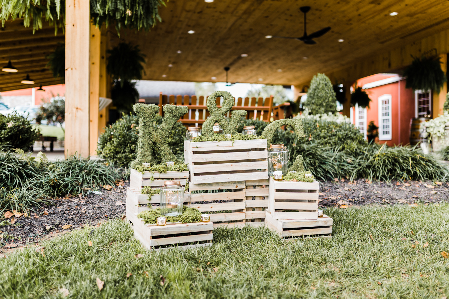 moss covered initials and table numbers - rustic and woodsy wedding ideas - Maryland summer weddings