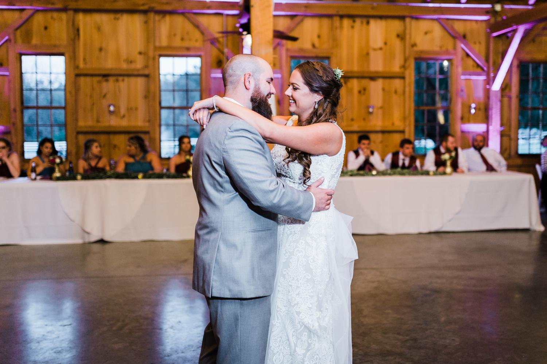 Bride and groom first dance - barn wedding Maryland