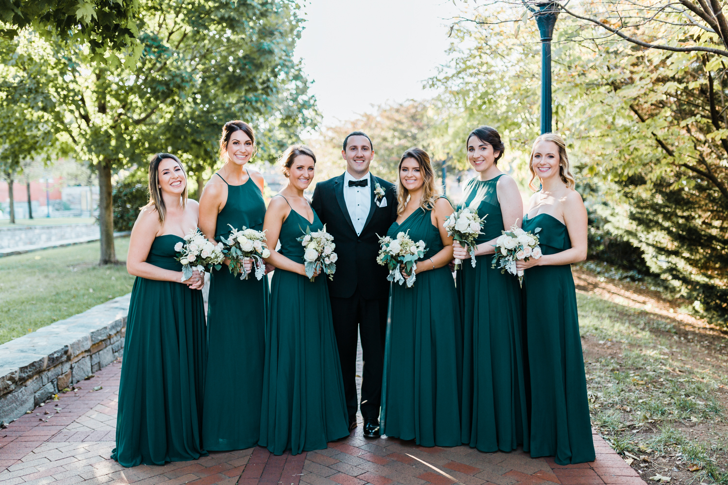 photo ideas for groom with bridesmaids - Maryland wedding photographer and cinematographer