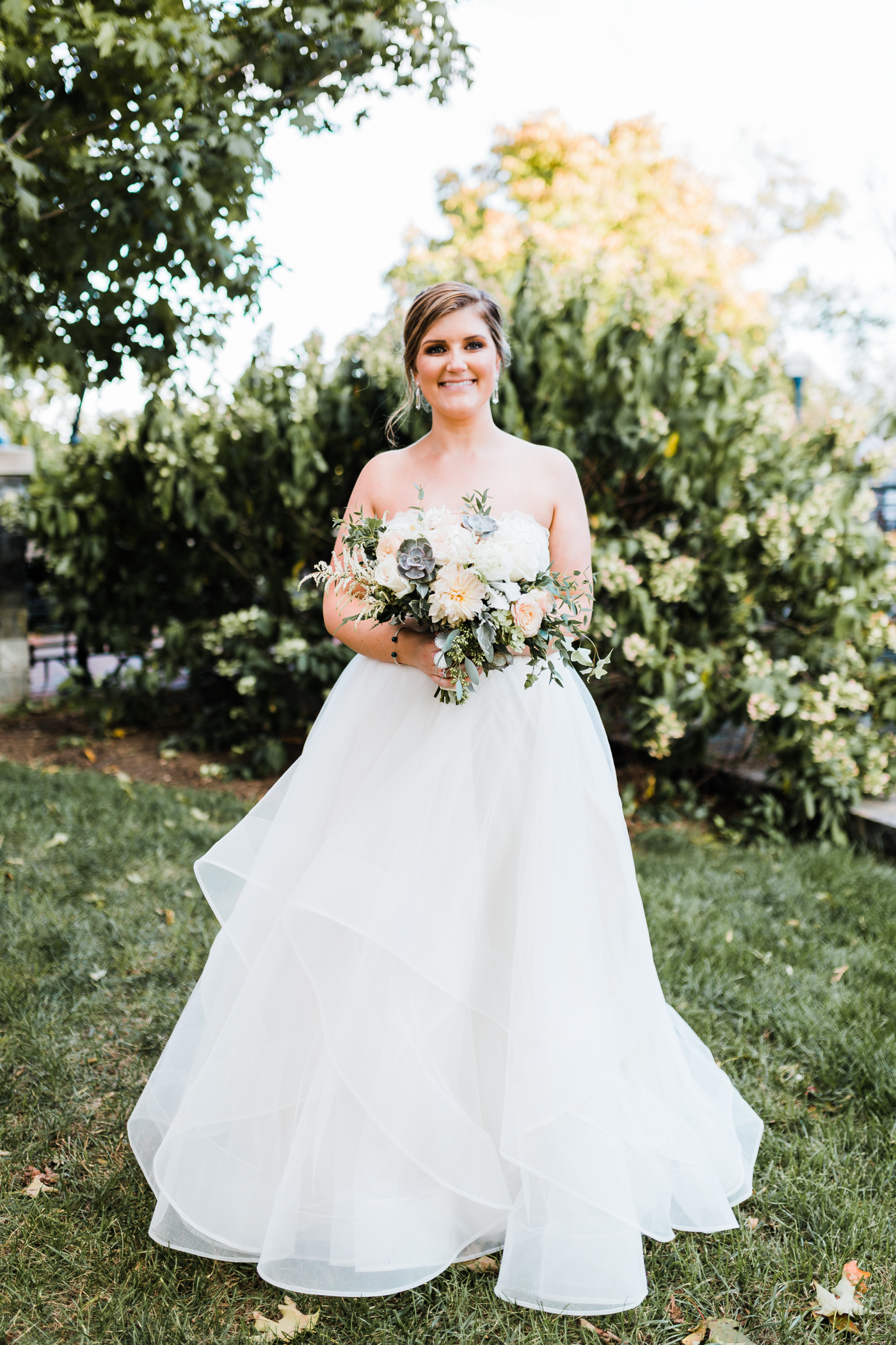 unique wedding dresses and gowns in Maryland area - fall wedding ideas in Maryland - succulent and dahlia bouquets