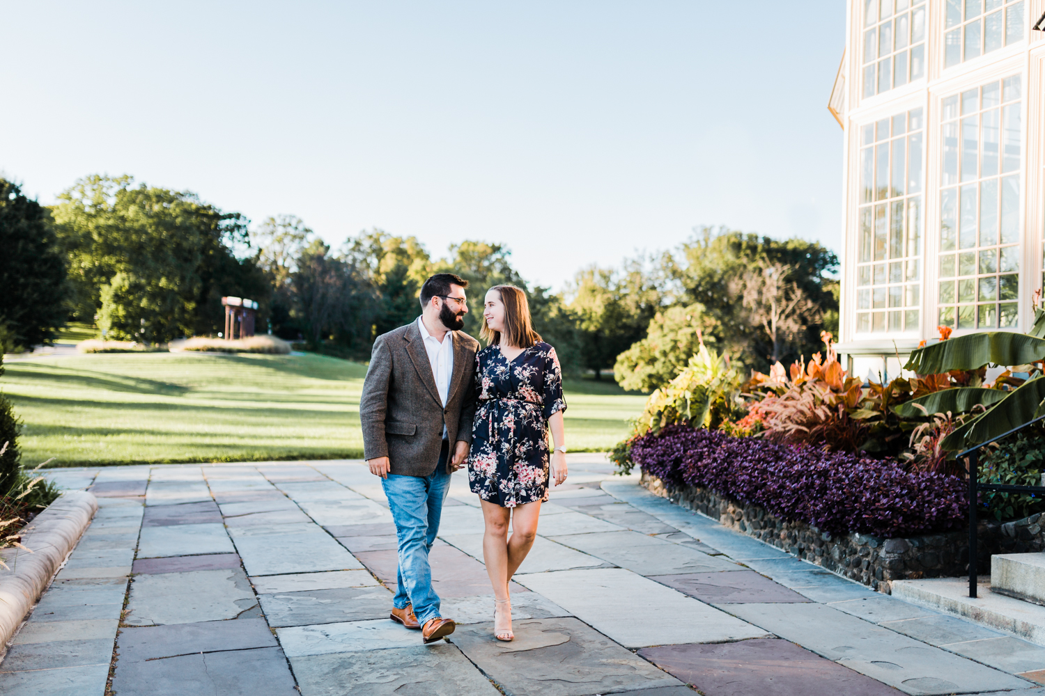 Couple walking together at Rawlings Conservatory Maryland - MD photographer