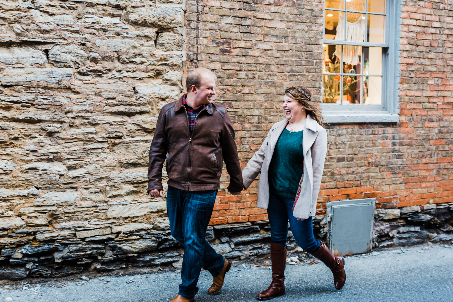 romantic engagement session in historic downtown frederick MD - top rated husband and wife photography team