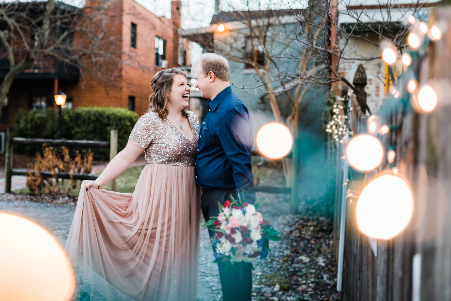 Engagement session with christmas lights - top rated candid photographer in Maryland