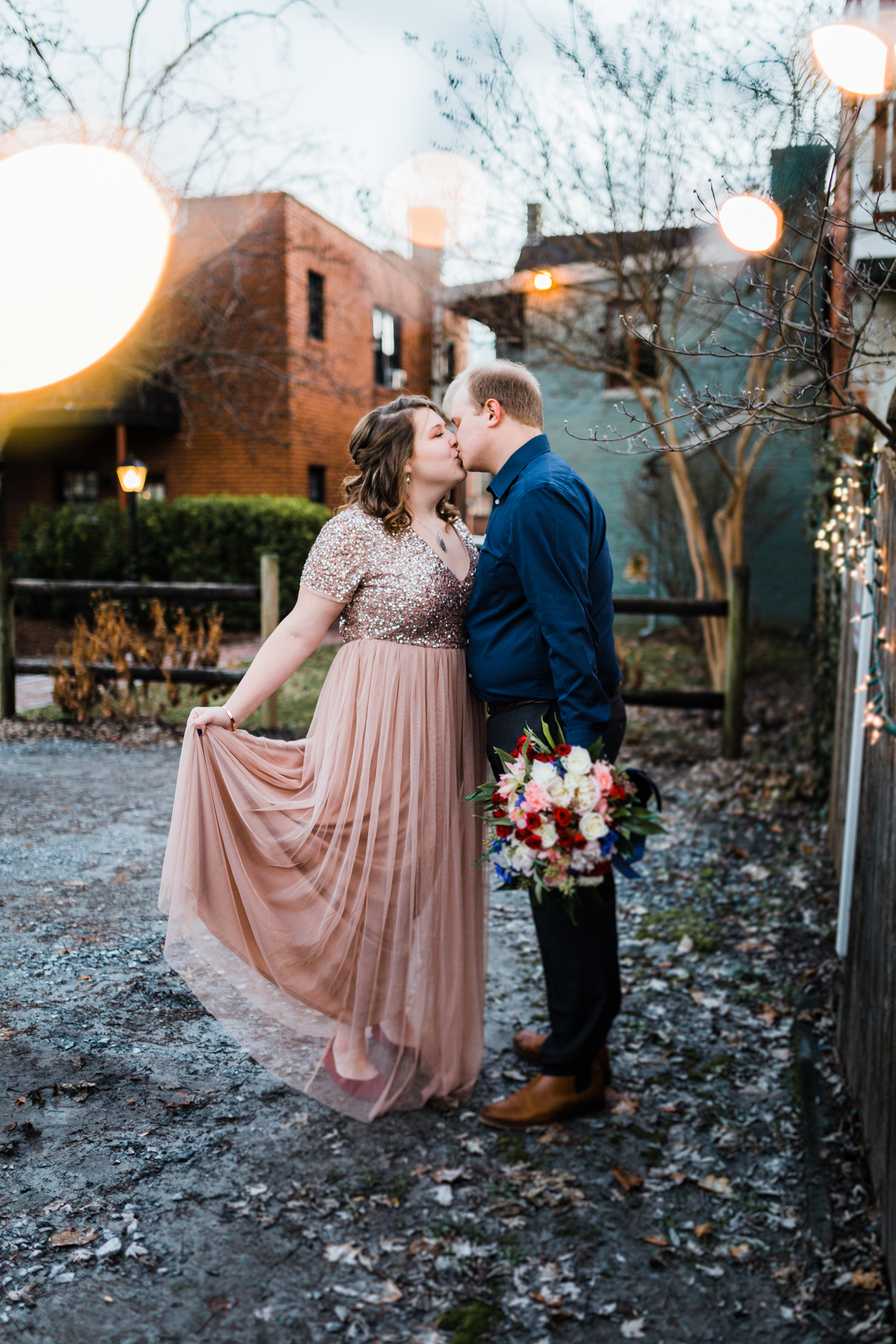 formal dress engagement session in downtown Frederick MD - best photography in Maryland