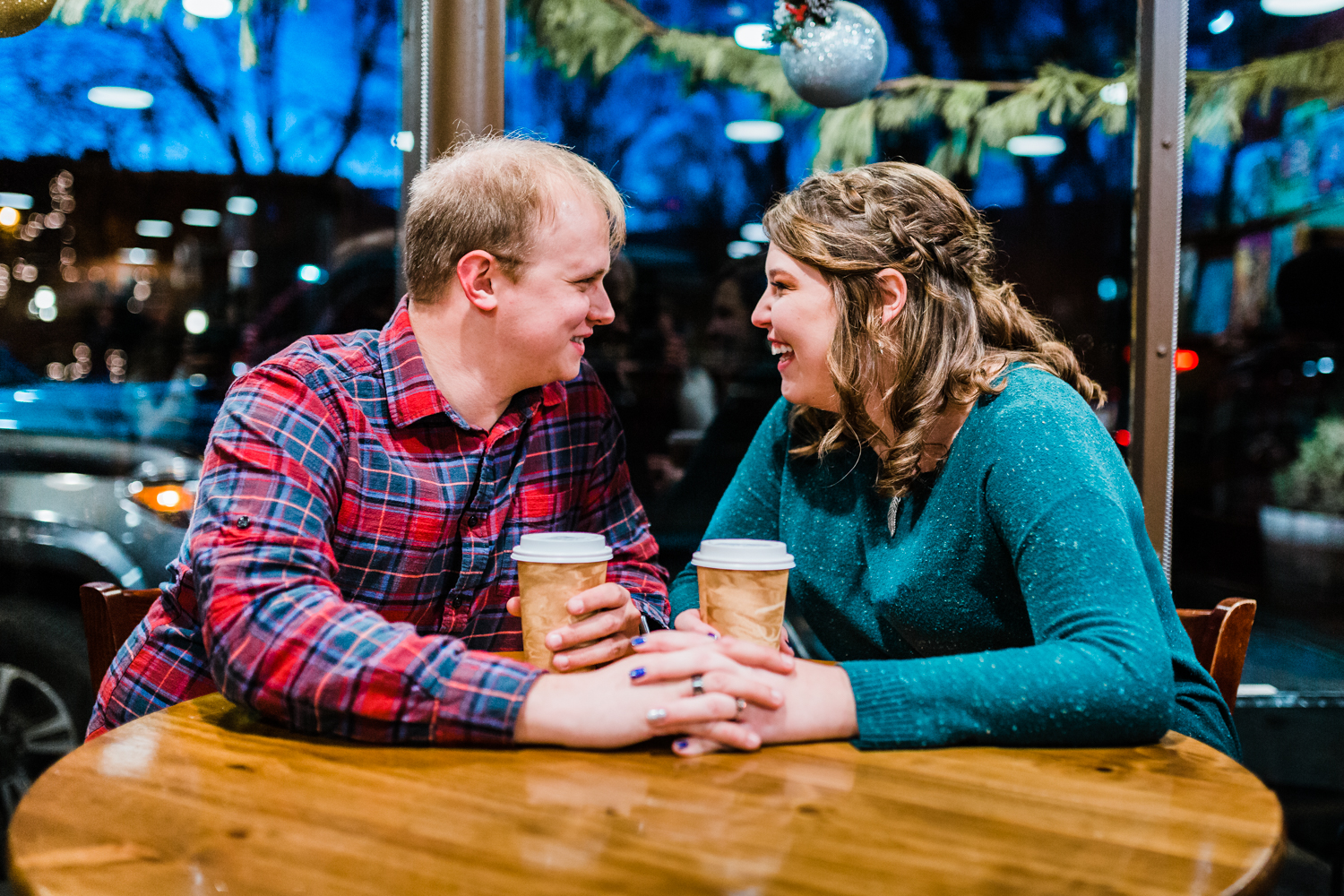 winter engagement session in frederick MD - best photographer in Maryland - coffee engagement photos
