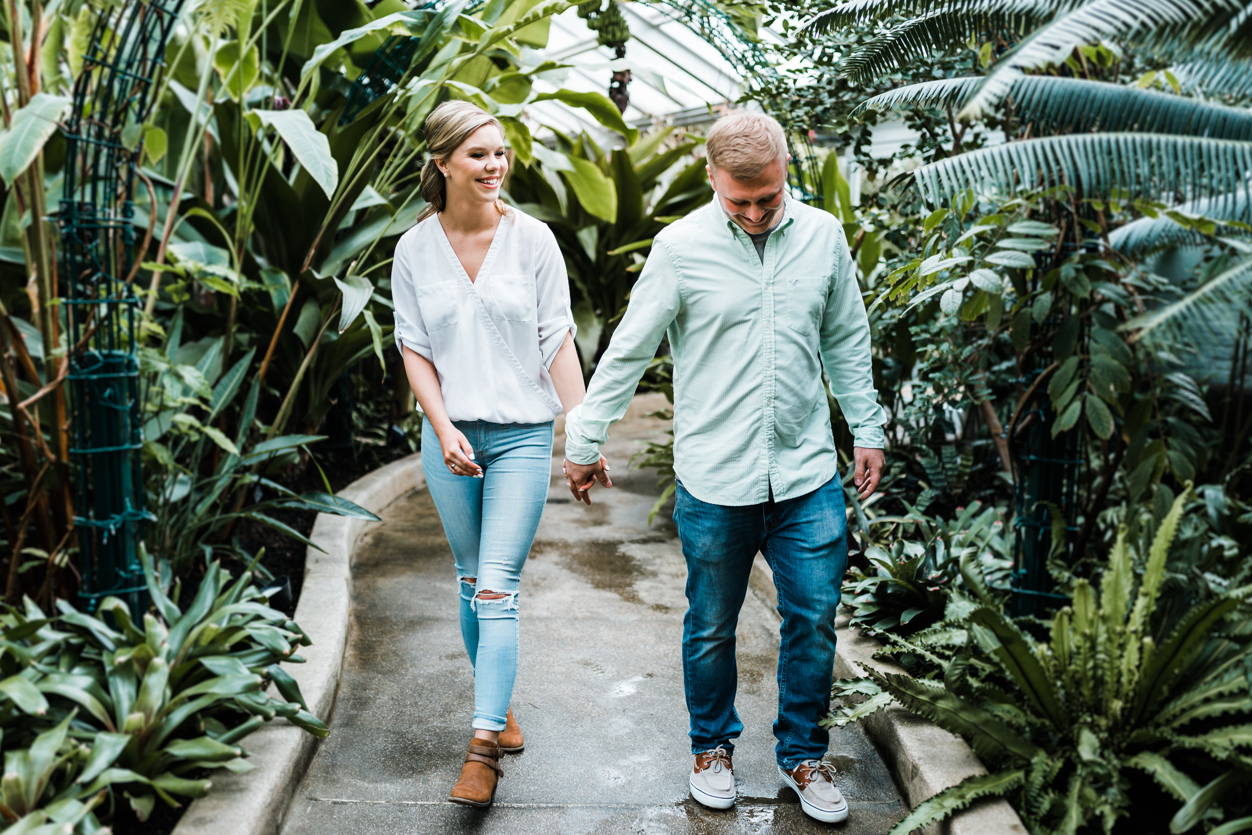 conservatory inspired engagement session in Baltimore MD - top rated husband and wife photo video team based in Maryland