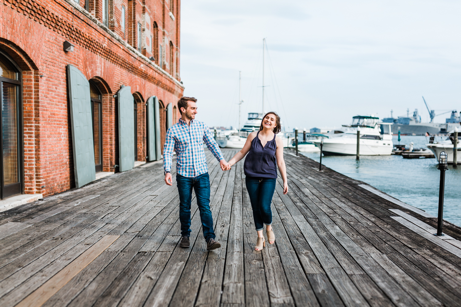 nautical engagement session in Baltimore - couple laughing - best Baltimore engagement and wedding photographer