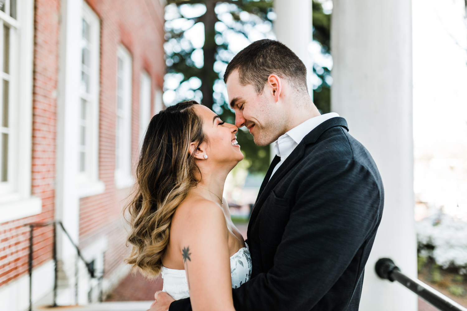 couple gives eskimo kisses in Annapolis - best wedding photos in Annapolis