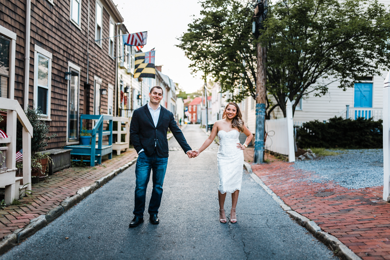couple in alley way of Annapolis for their engagement session