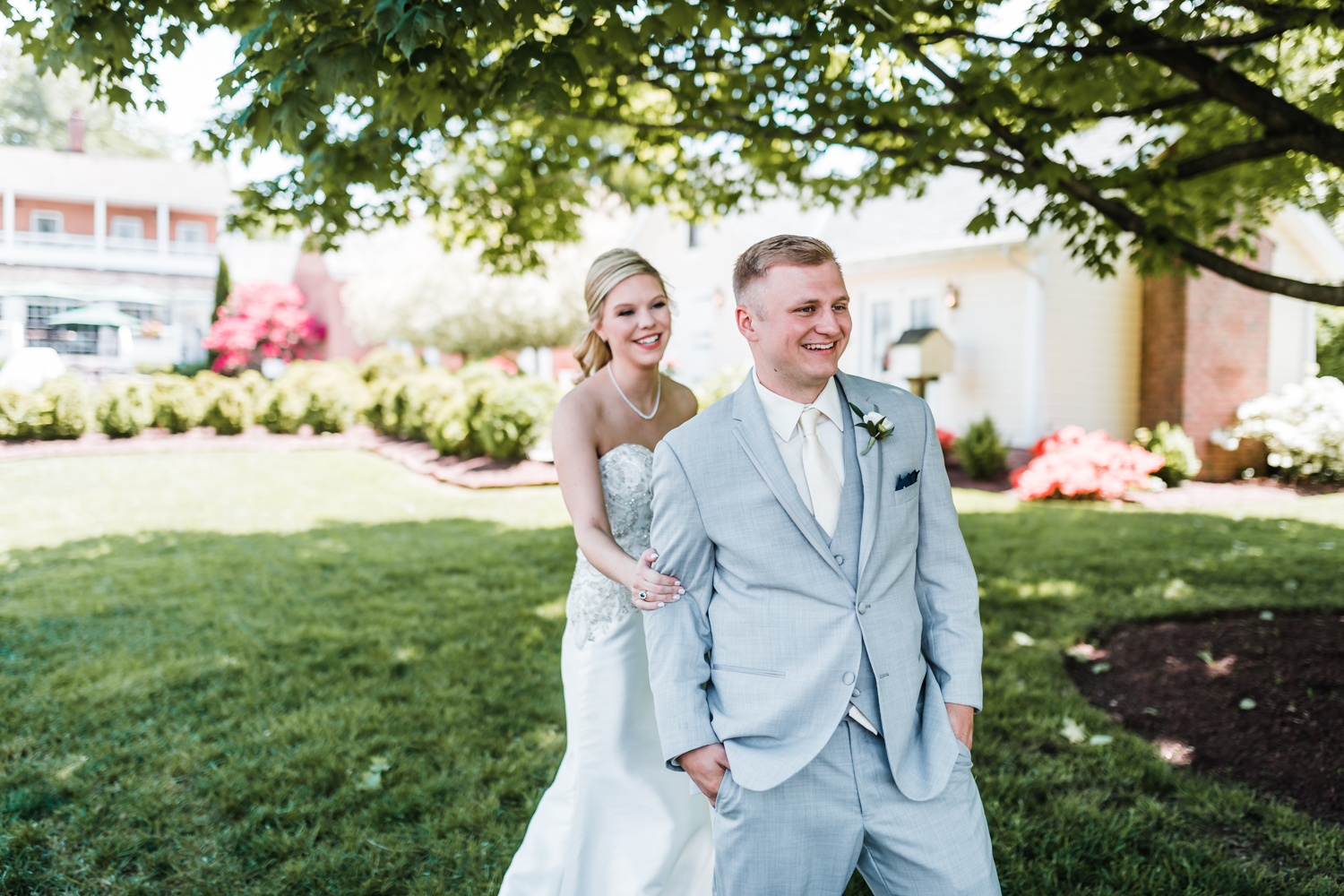 bride and groom first look reaction - Carroll County wedding venues