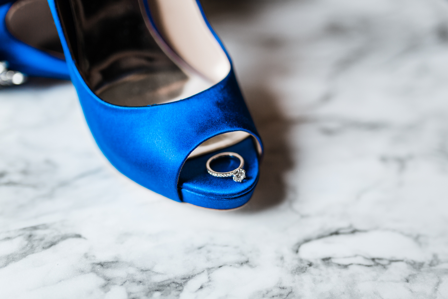 ring detail on badgley mischka shoes - elegant wedding venue in Maryland