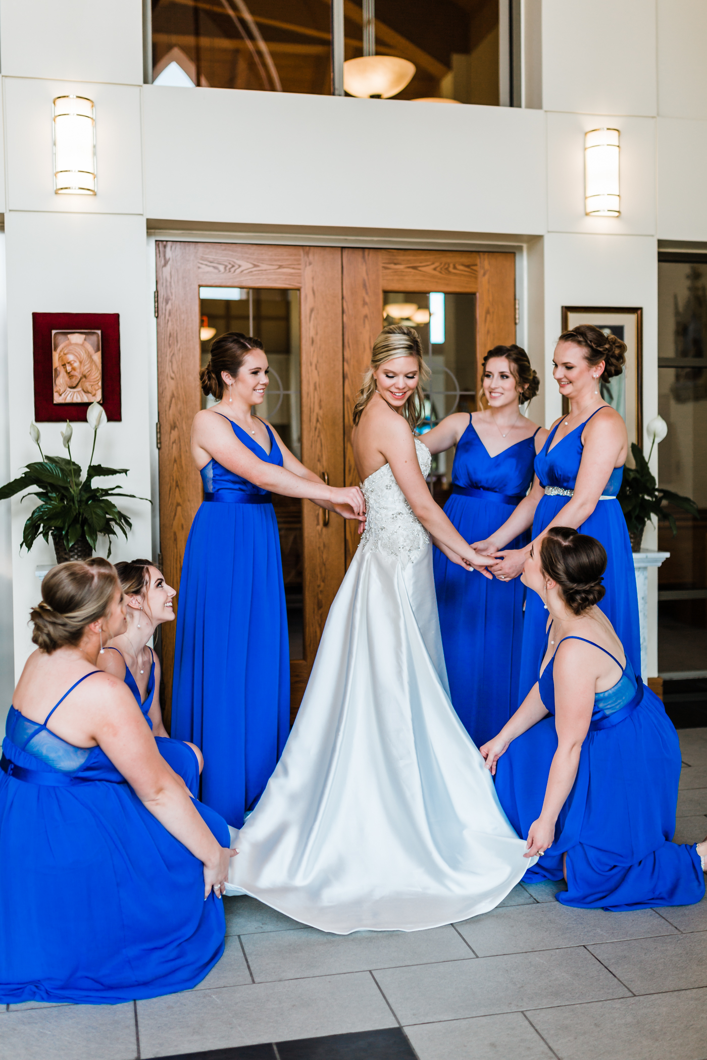 royal blue bridesmaids dresses inspo - satin wedding gown in Maryland
