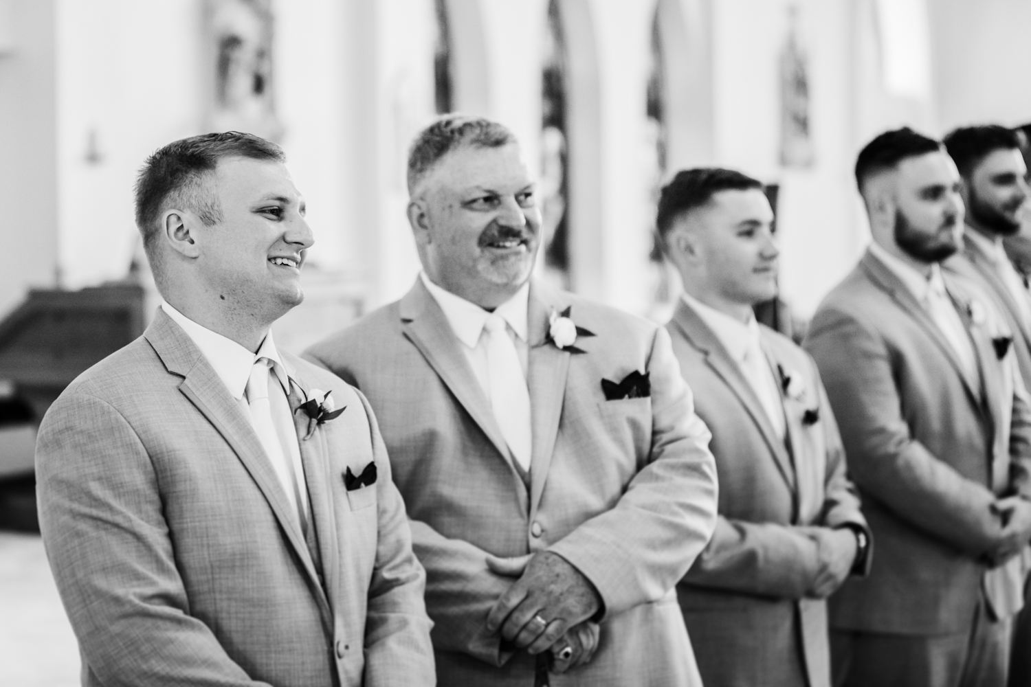 grooms reaction to his bride walking down the aisle in westminster, md