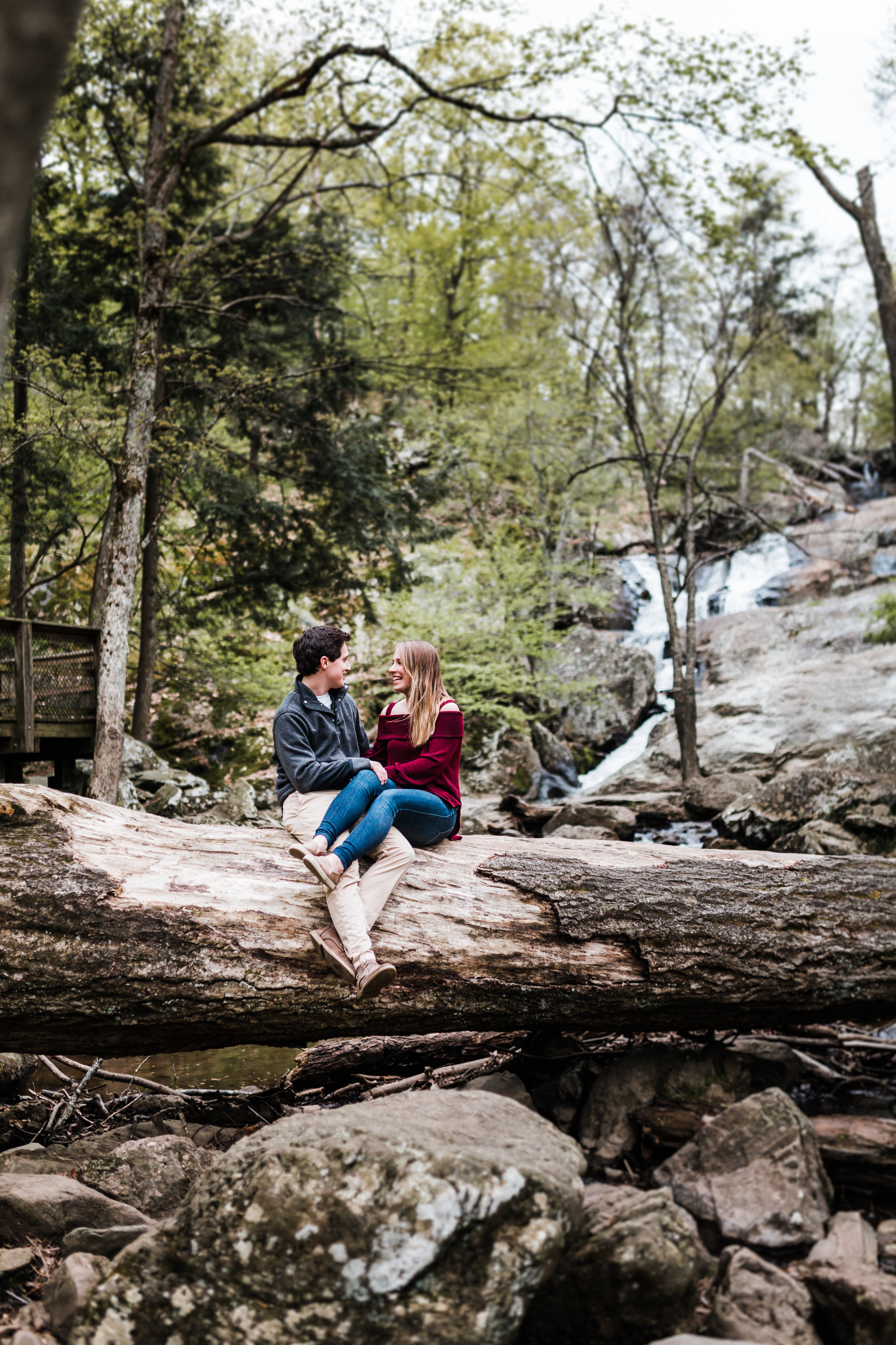 adorable couple in front of the falls at Catoctin Mountain State Park