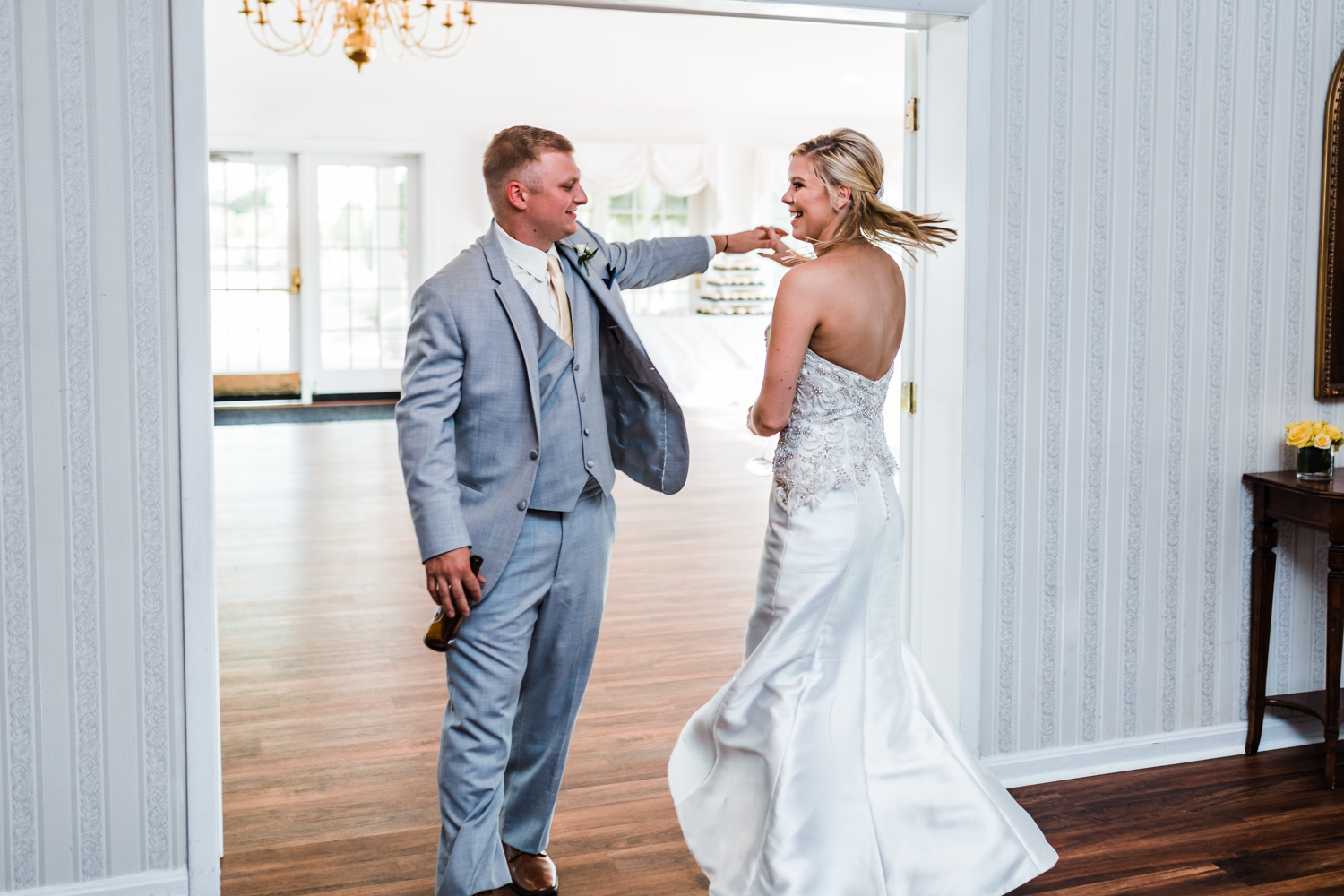 couple is introduced in to their reception and does a twirl - maryland wedding photography