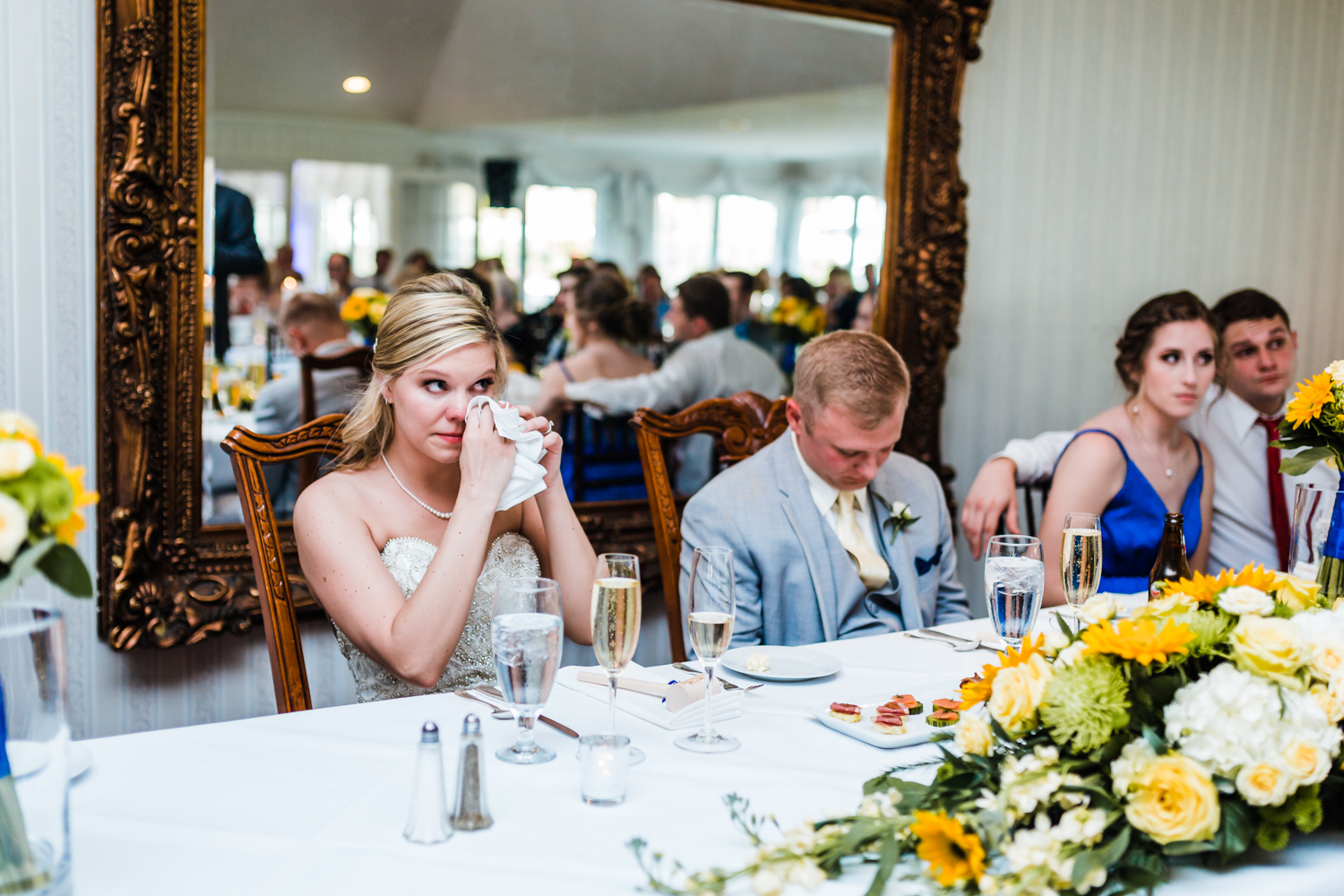 bride gets emotional during toasts at wedding reception - top rated wedding venues in Maryland