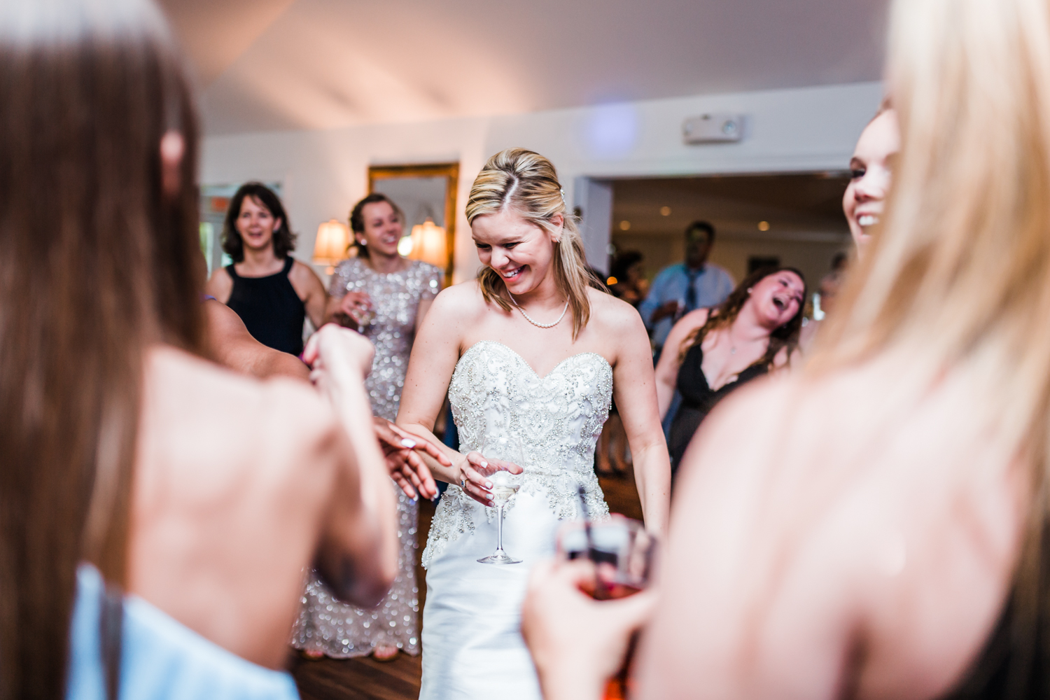 bride dancing and having fun at her wedding reception in Carroll County, MD