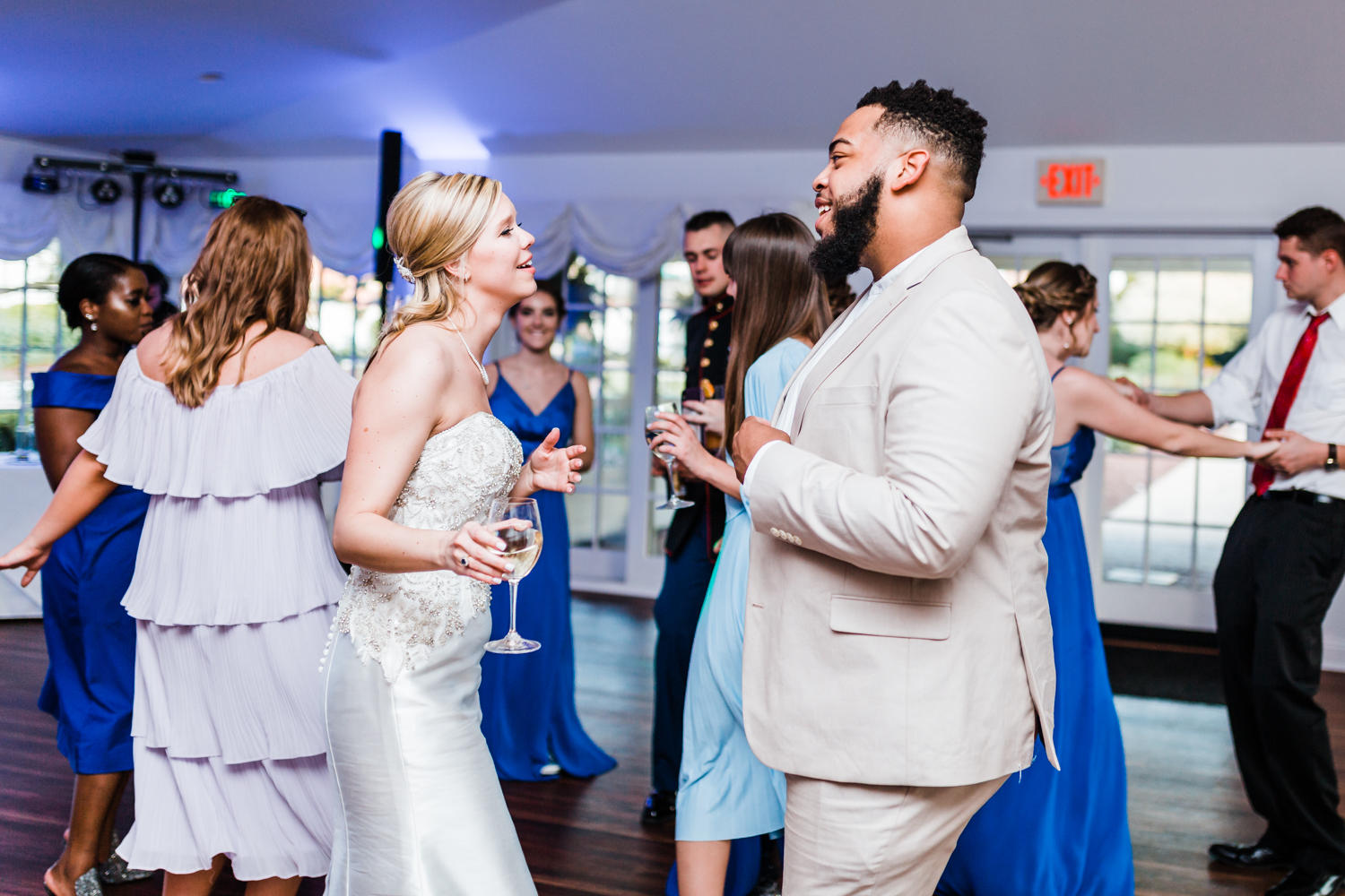 bride dancing with friend at wedding reception - taneytown maryland