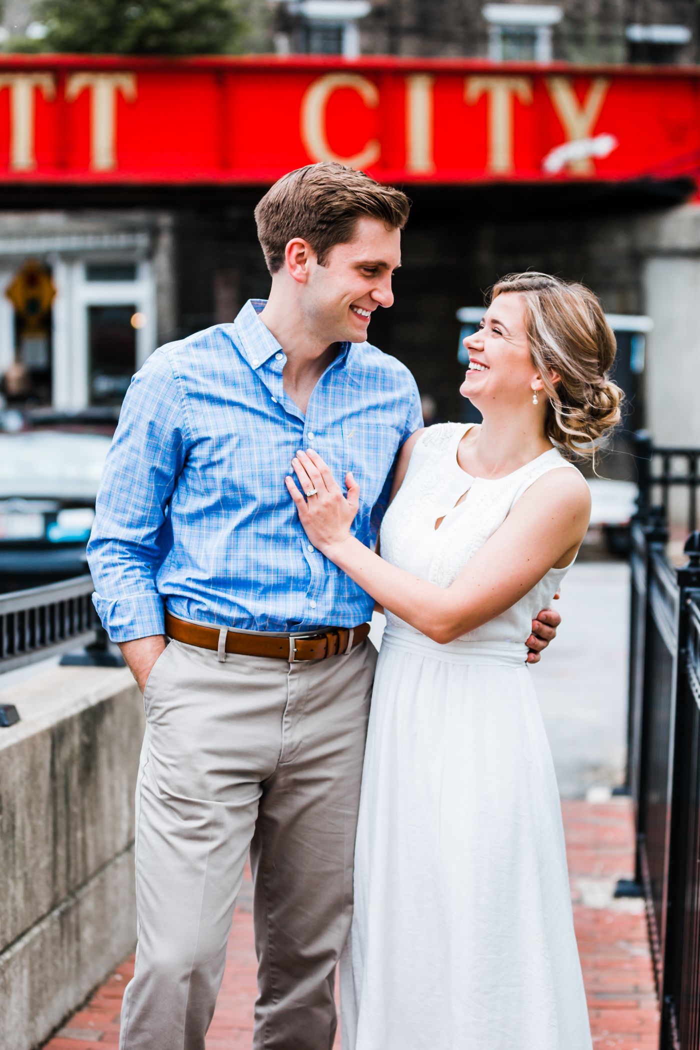 couple smiling together in ellicott city, md - maryland wedding photography husband and wife team
