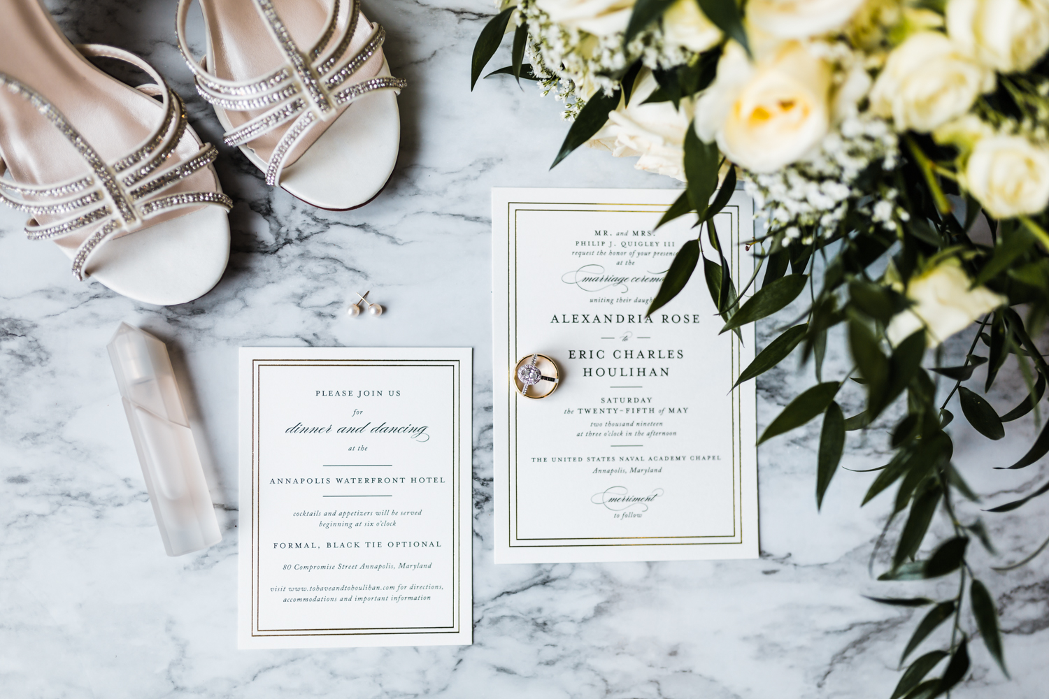 gorgeous invitation suite for annapolis maryland wedding
