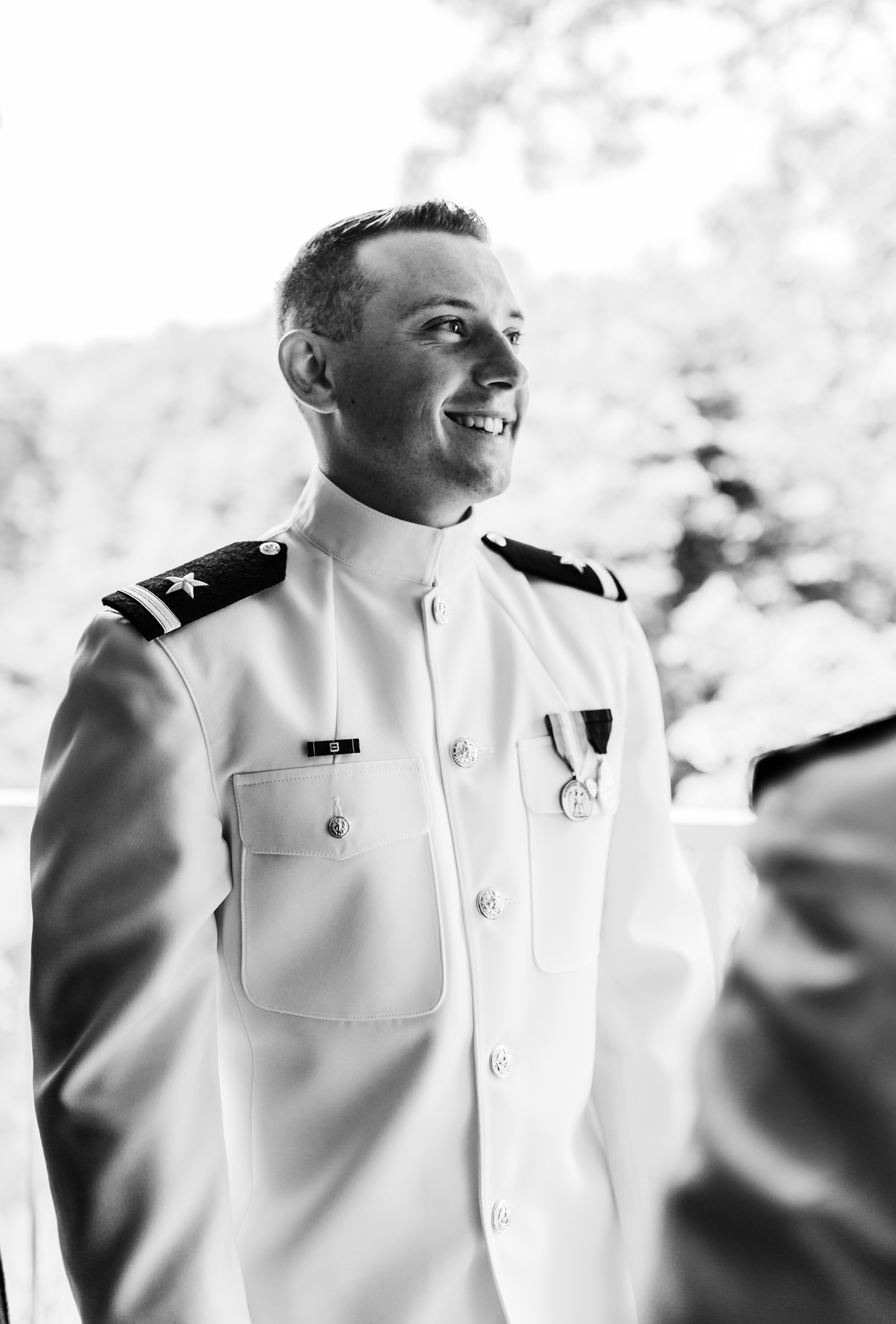 groom getting ready for his wedding in his Navy Dress Whites