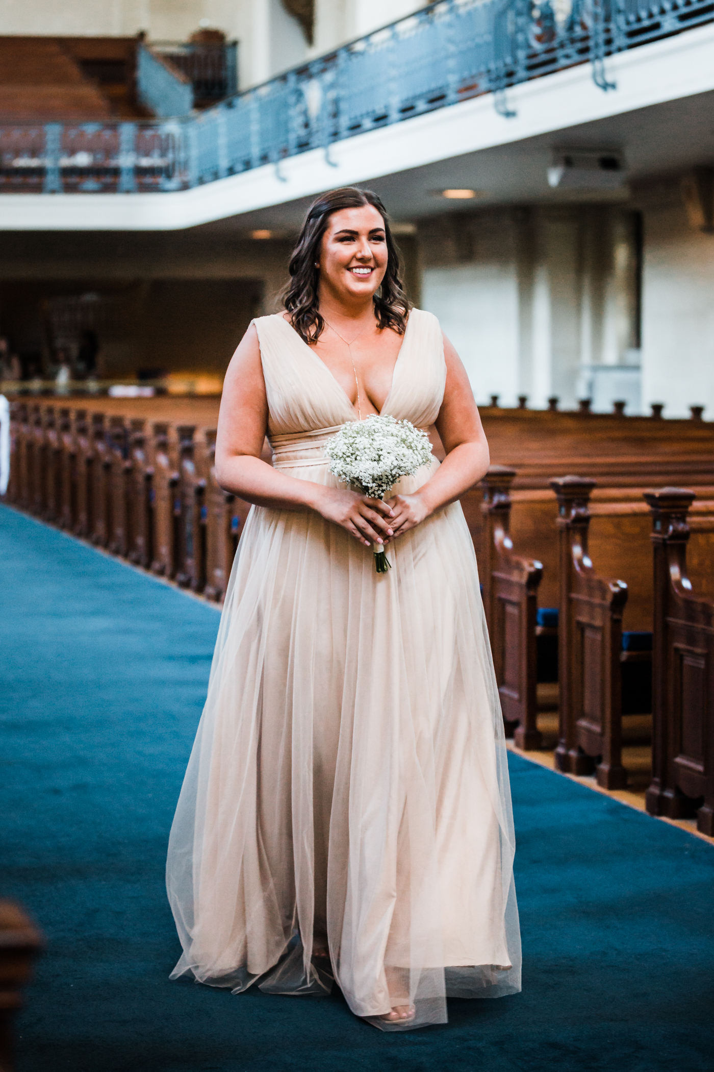 bridesmaid walking down the aisle - Annapolis MD wedding ceremony locations