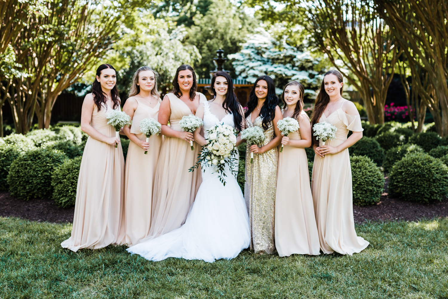 beige and sequin bridesmaids dresses in annapolis, md