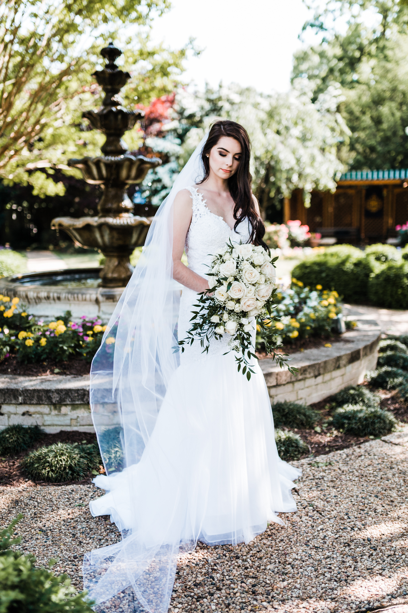 bride with cathedral length veil - superintendent's garden naval academy wedding