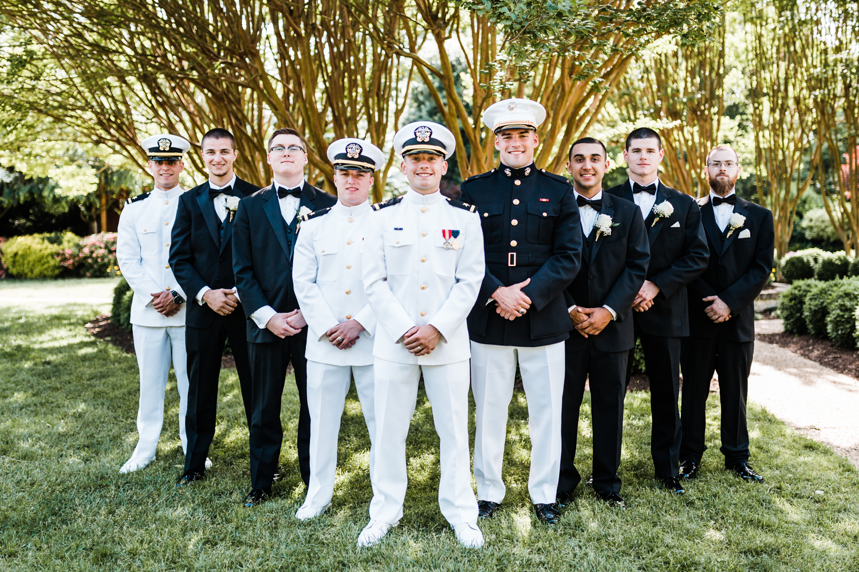 groom and his groomsmen at naval academy wedding