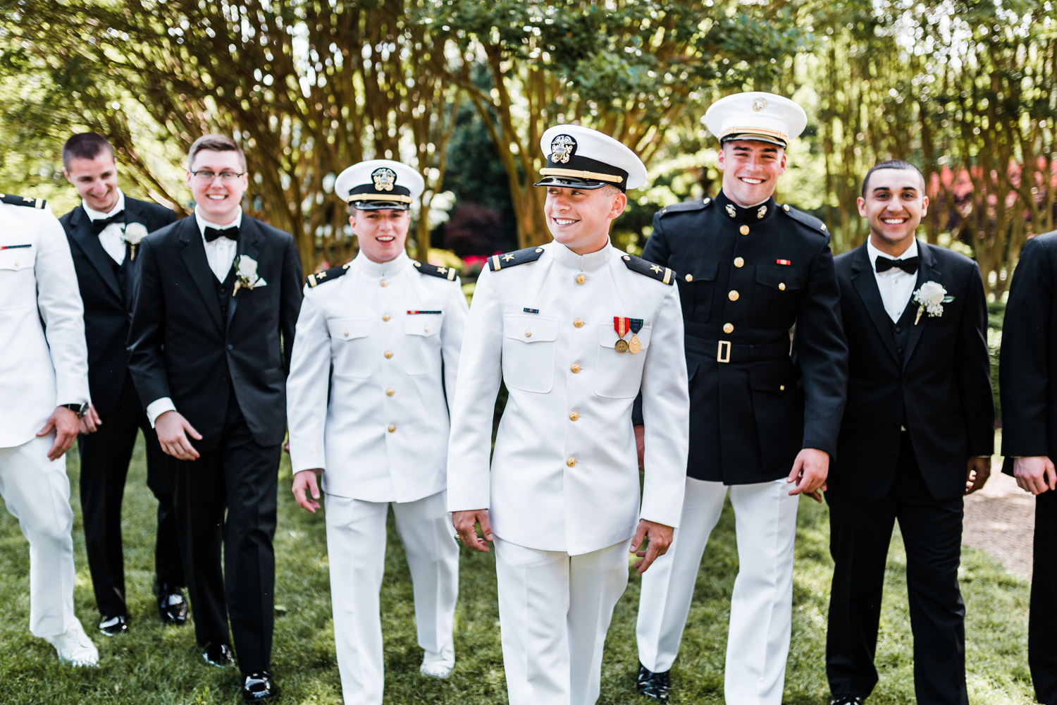 groom and his groomsmen at the naval academy