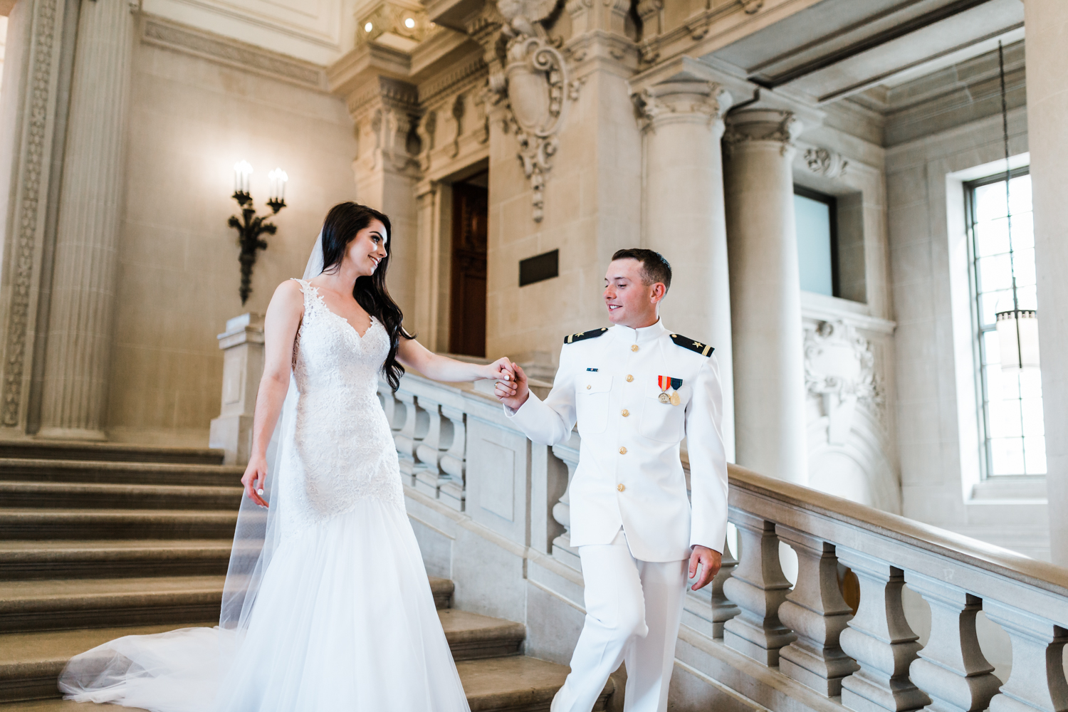 beautiful bride and her groom at naval academy wedding
