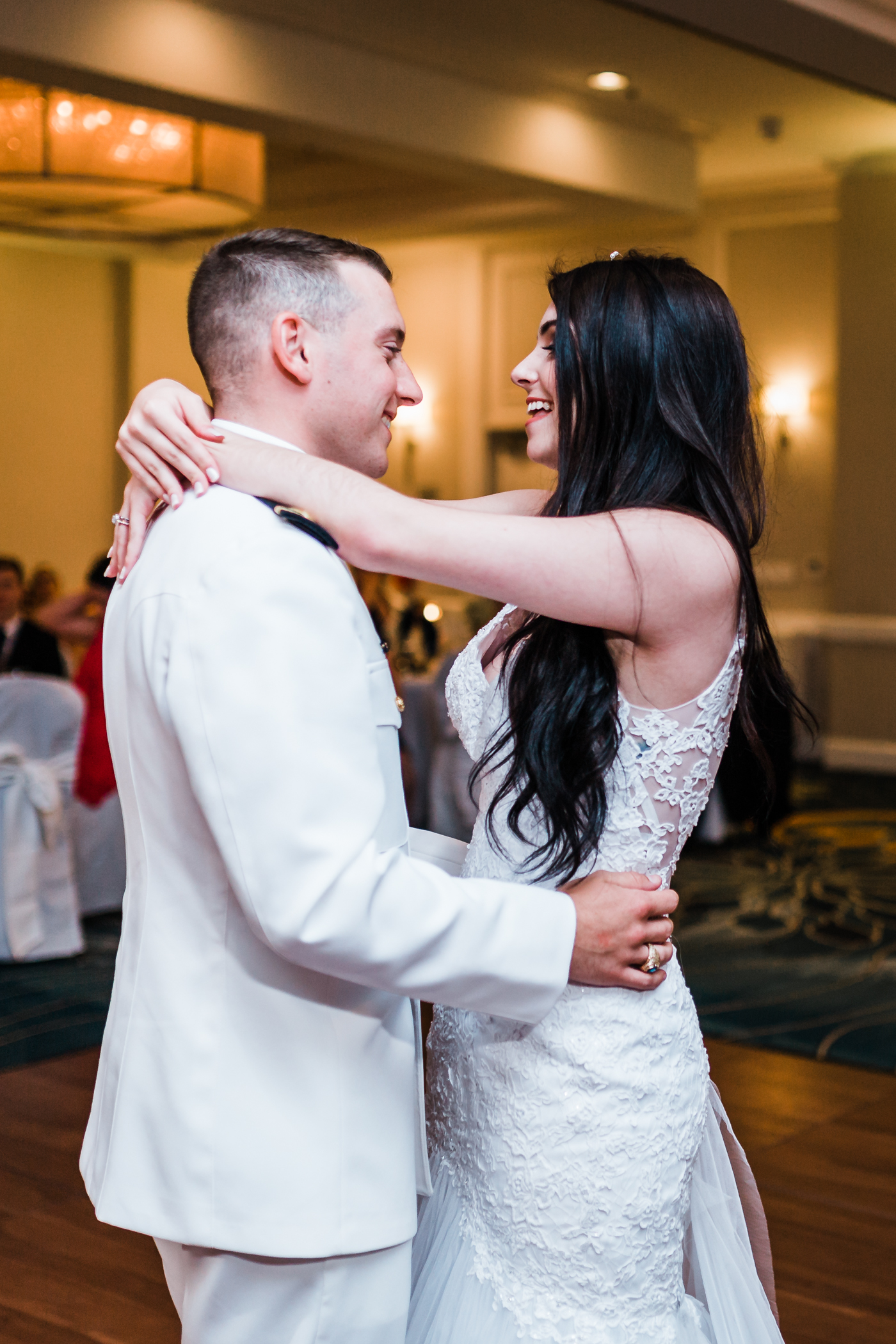 bride and groom share their first dance at annapolis waterfront hotel