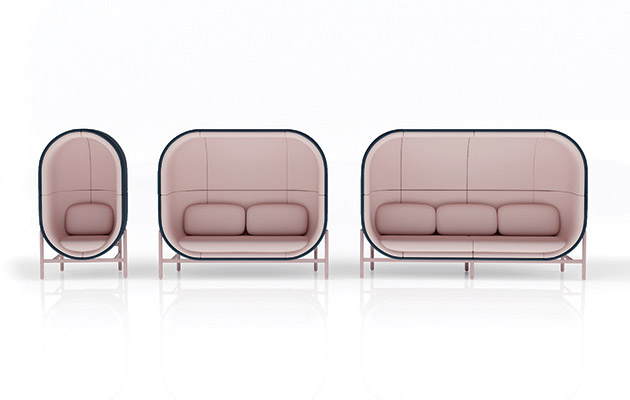 Casala's voluptuous upholstery provides a semi-enclosed area