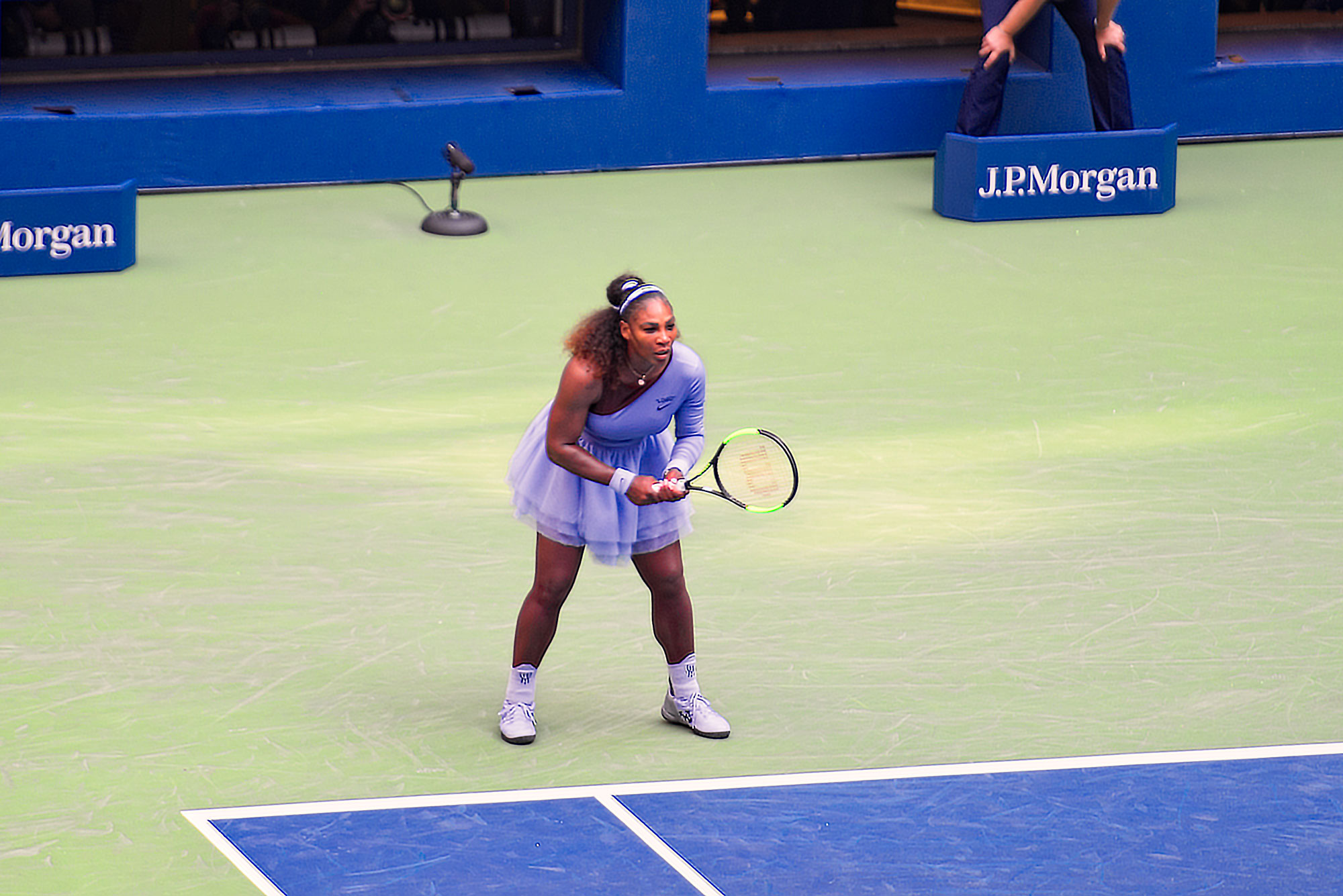 Serena Williams in action at the round of 16, US Open