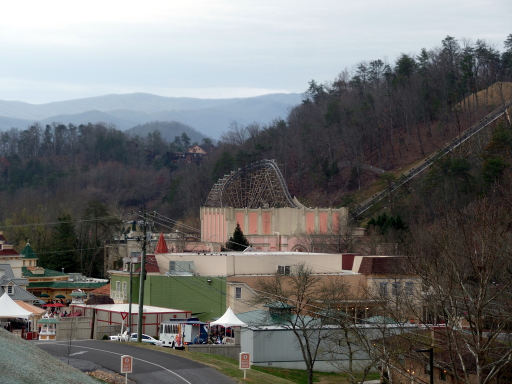 The view of Dollywood from the preferred parking area.