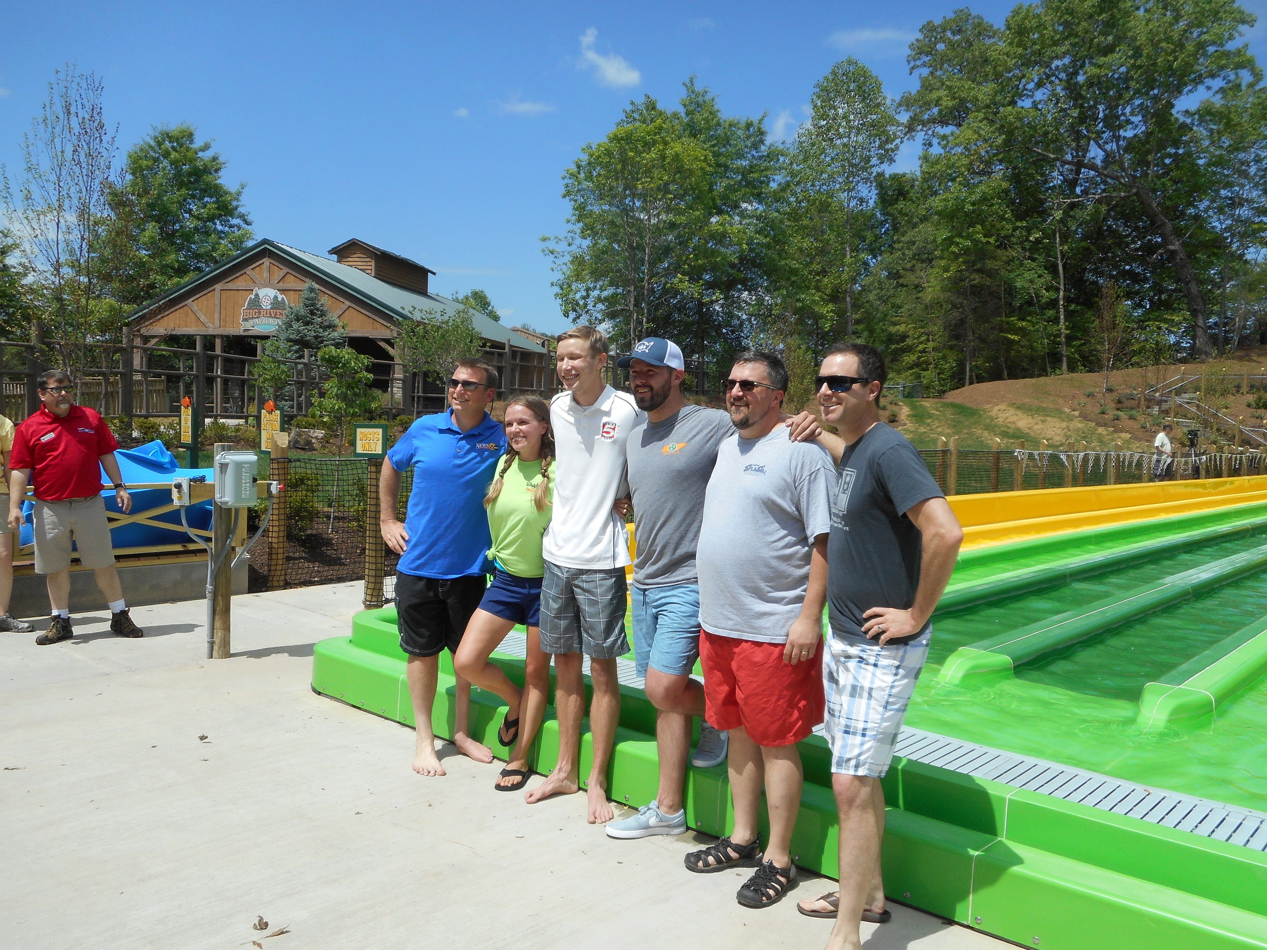 Your @knoxdaytripper (2nd from the right) with other members of local media at a special event back in May at Tailspin Racer at Splash Country.
