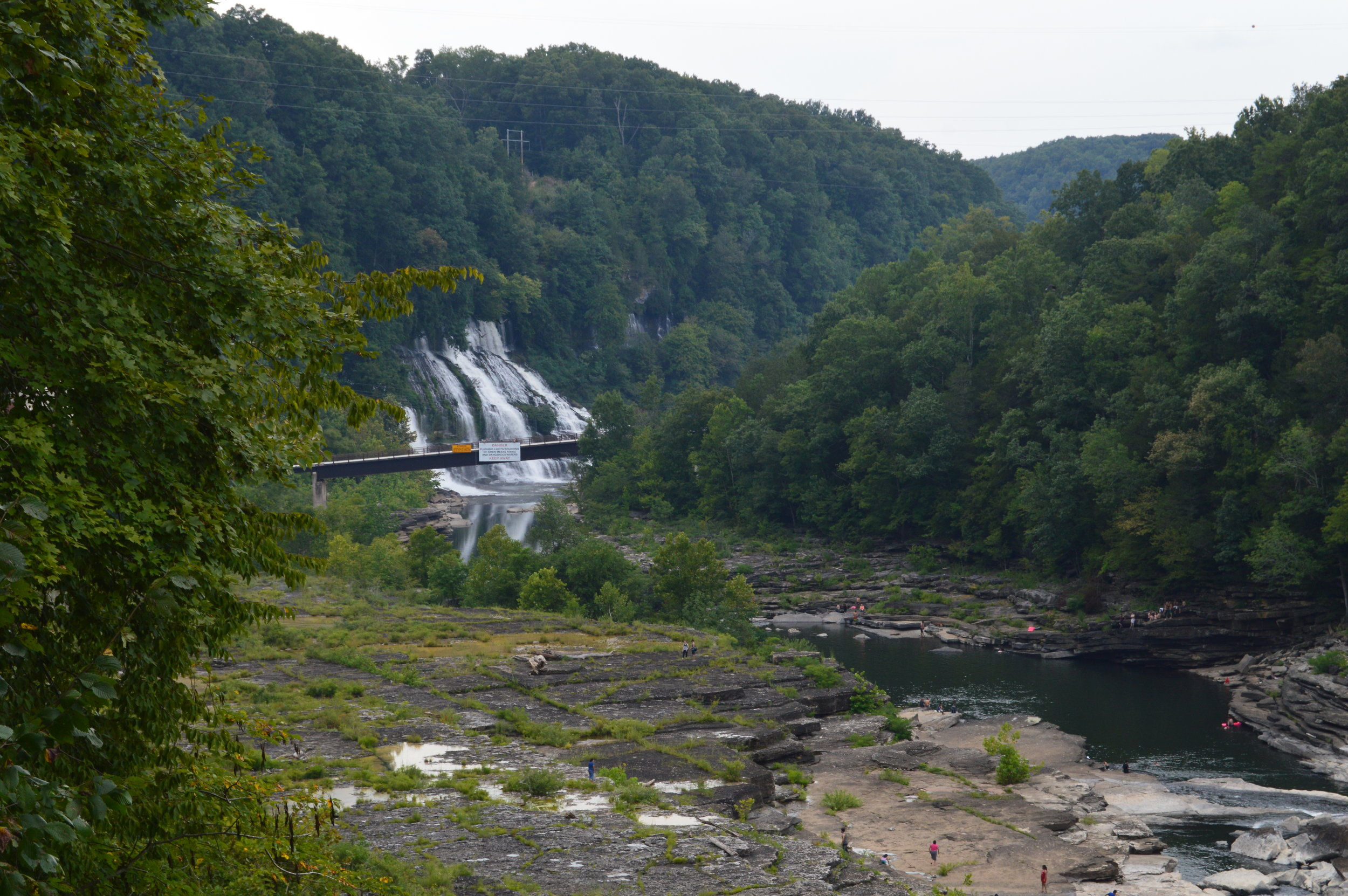 Twin Falls in the Caney River Gorge can be viewed from the overlook near Great Falls, but access to it requires a trip outside of Rock Island State Park and down Powerhouse Road.